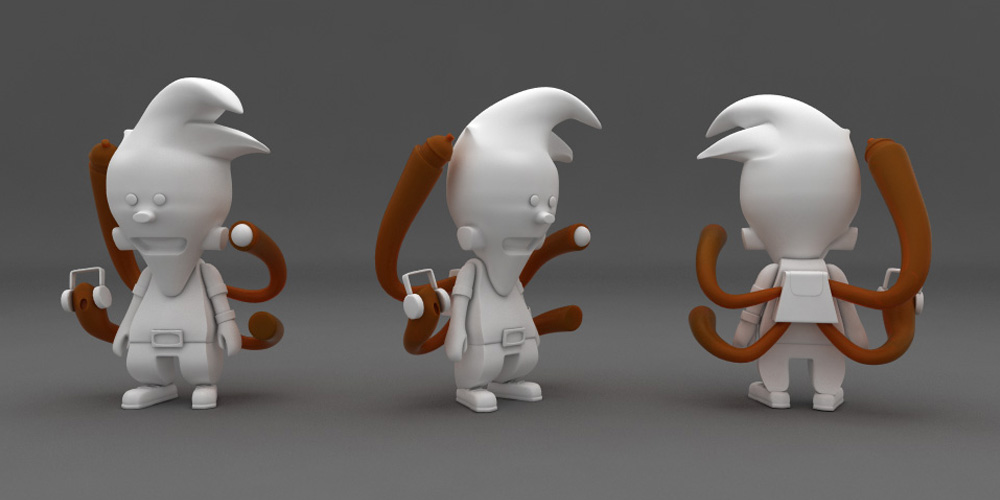modélisation caracter design 3d wormkid tizieu
